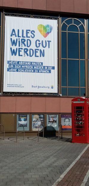 Corona Pandemie Plakat in Bad Homburg